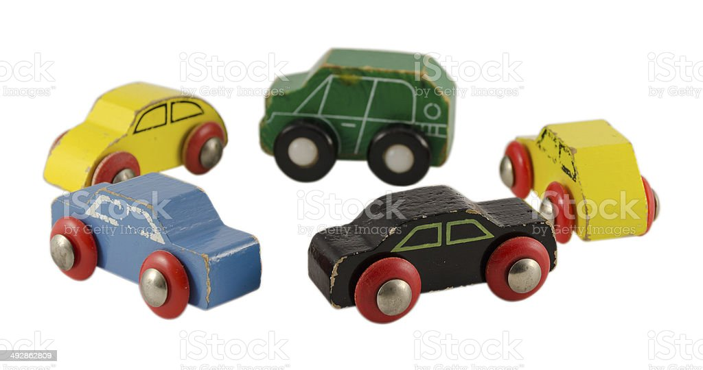 retro cars toy standing circle isolated on white stock photo