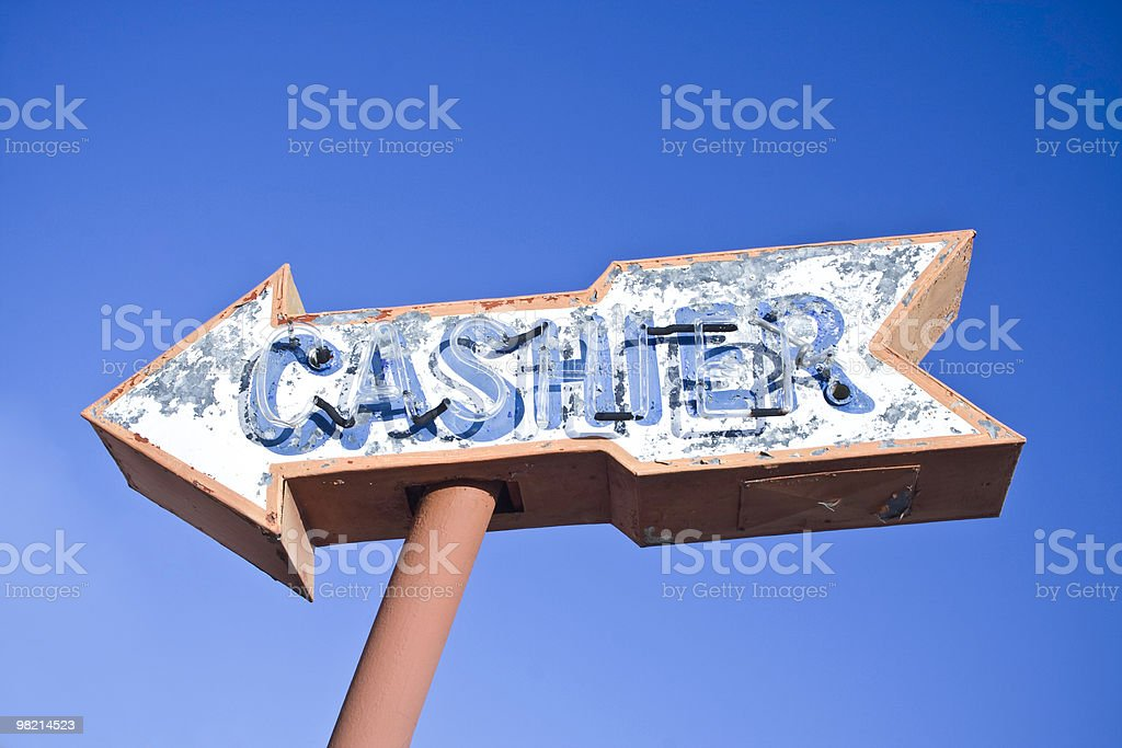 Retro Cashier Sign royalty-free stock photo