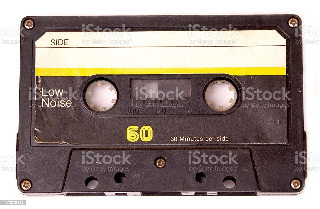 Retro cassette tape with yellow label stock photo