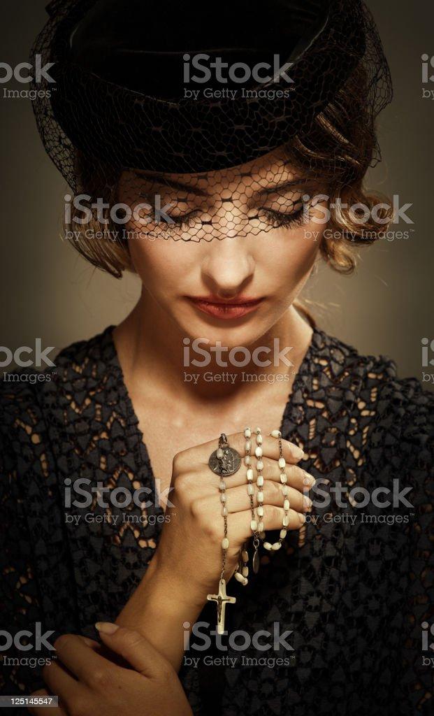 Retro catholic woman. royalty-free stock photo