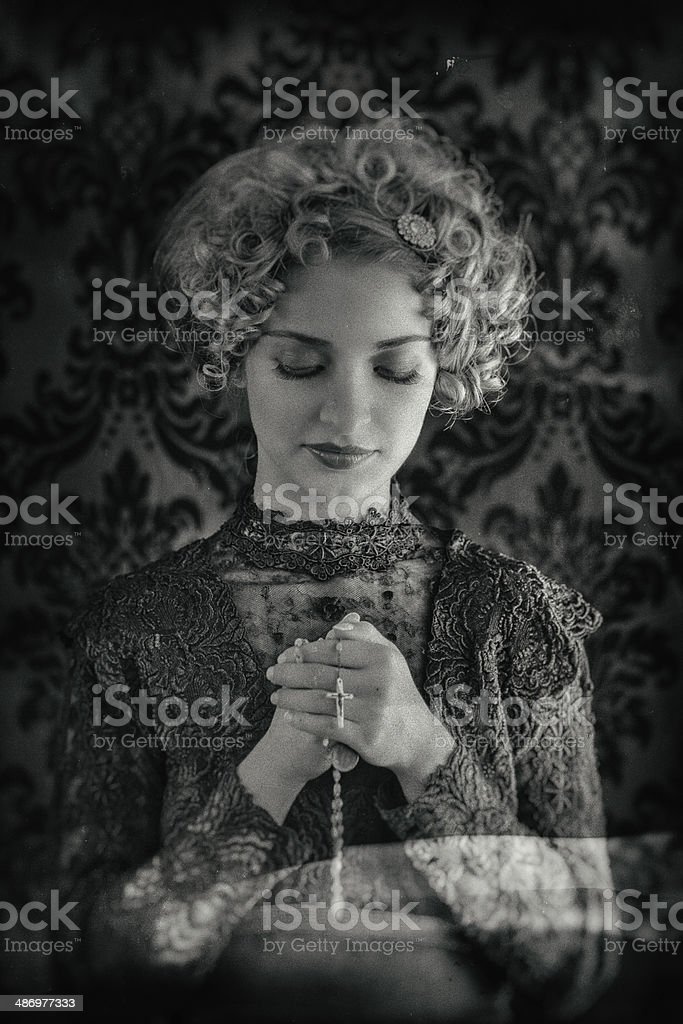 Retro catholic woman royalty-free stock photo