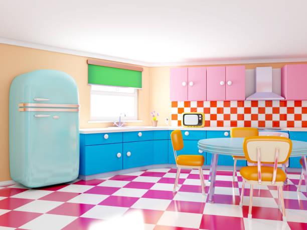 retro-karierten küche - kücheneinrichtung nostalgisch stock-fotos und bilder
