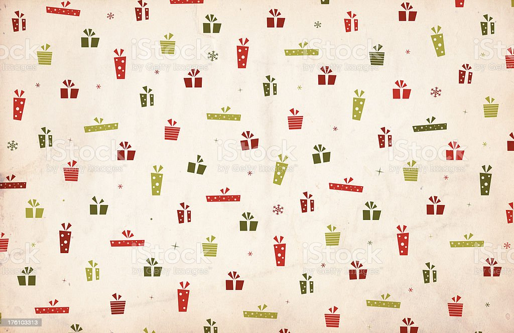 Retro Christmas Background - Presents /  Gifts royalty-free stock photo