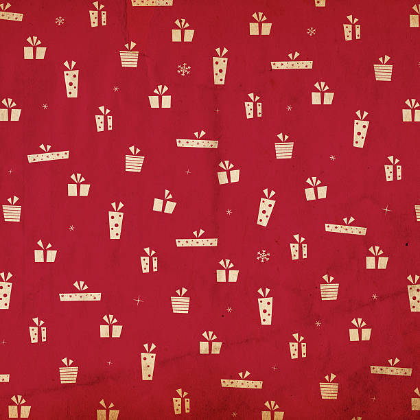 "Retro Christmas Background XXXL ""Image of an old, grungy piece of XXL paper with a red wrapping-paper looking pattern of presets/gifts and snowflakes. See more quality images like this in my portfolio and in my Retro Christmas Backrounds Lightbox."" wrapping stock pictures, royalty-free photos & images"