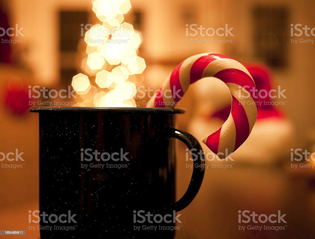 Retro Christmas Candy Cane, Tree Lights royalty-free stock photo