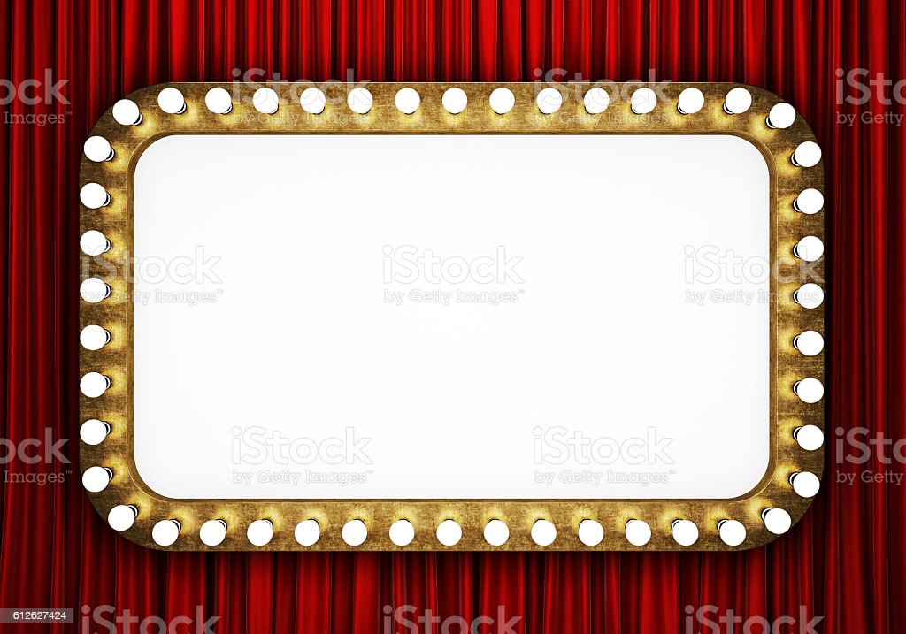 Retro cinema banner with red curtain stock photo