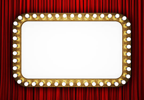 retro cinema banner with red curtain - circus background stock photos and pictures
