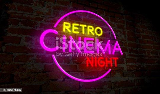 991292404 istock photo Retro cinema night neon 1019518066