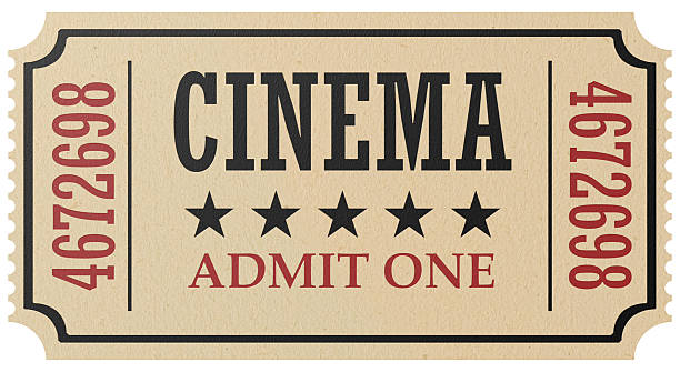 retro cinema ticket isolated - ticket stock photos and pictures