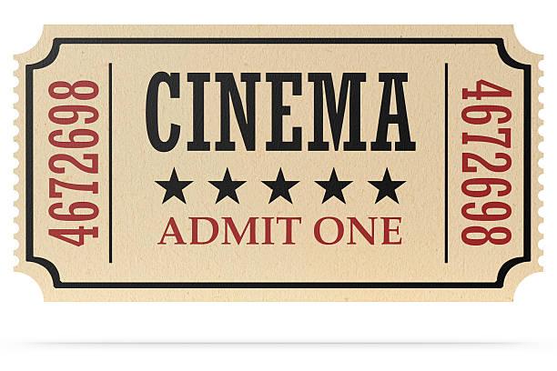 biglietto del cinema retrò isolato con ombra - biglietto del cinema foto e immagini stock