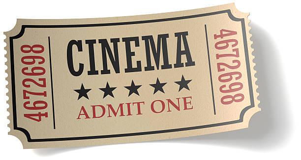 biglietto del cinema retrò con ombra - biglietto del cinema foto e immagini stock