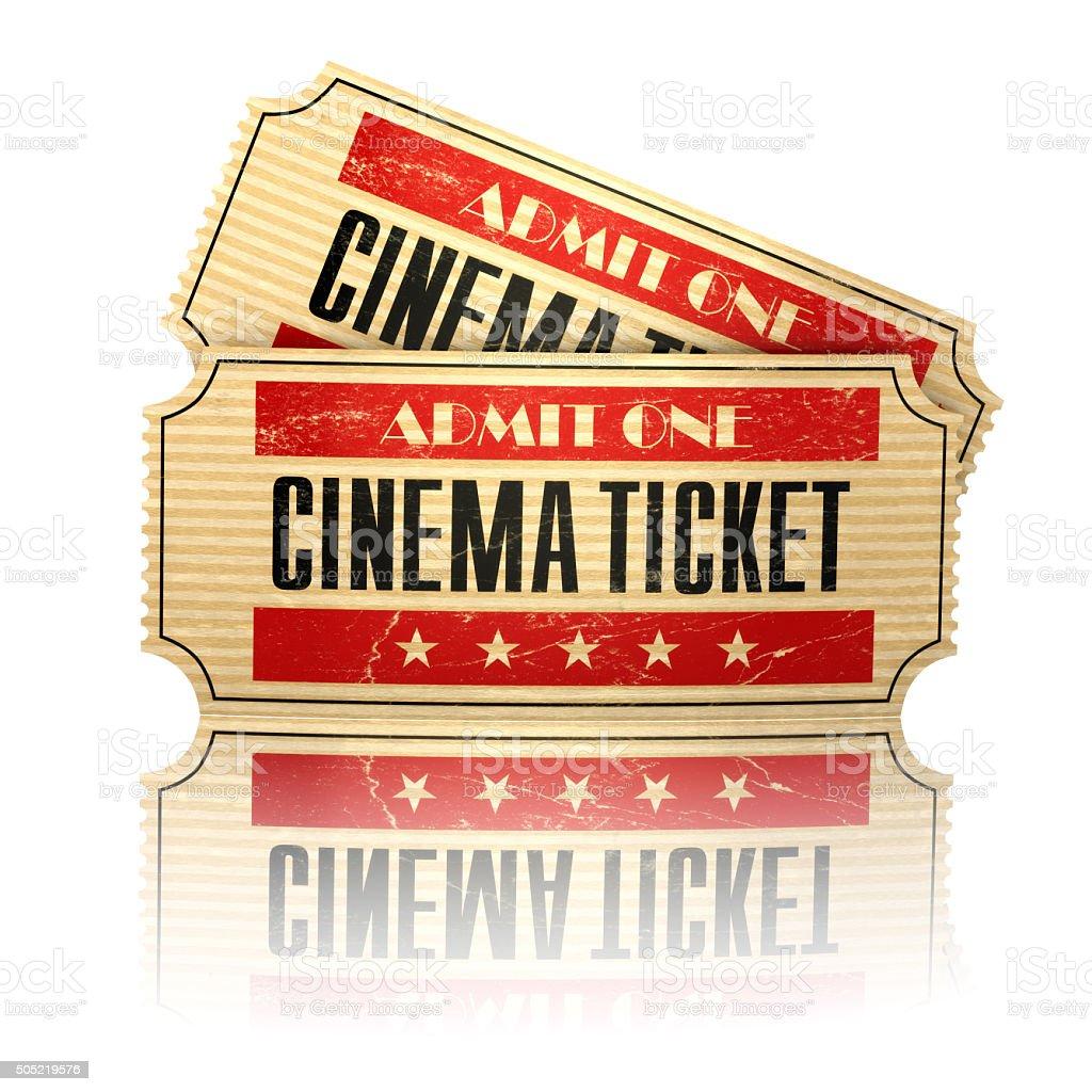 Retro cinema tickets isolated on white. stock photo