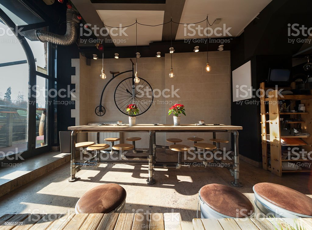 retro coffee bar interior stock photo