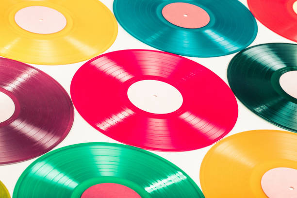 retro renk pikap vinil diskler arka plan için. vintage eski stil filtre uygulanmış fotoğraf - reggae stok fotoğraflar ve resimler