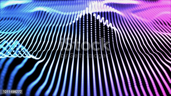 istock Retro colorful modern design of sound wave 3d illustration 1011498272