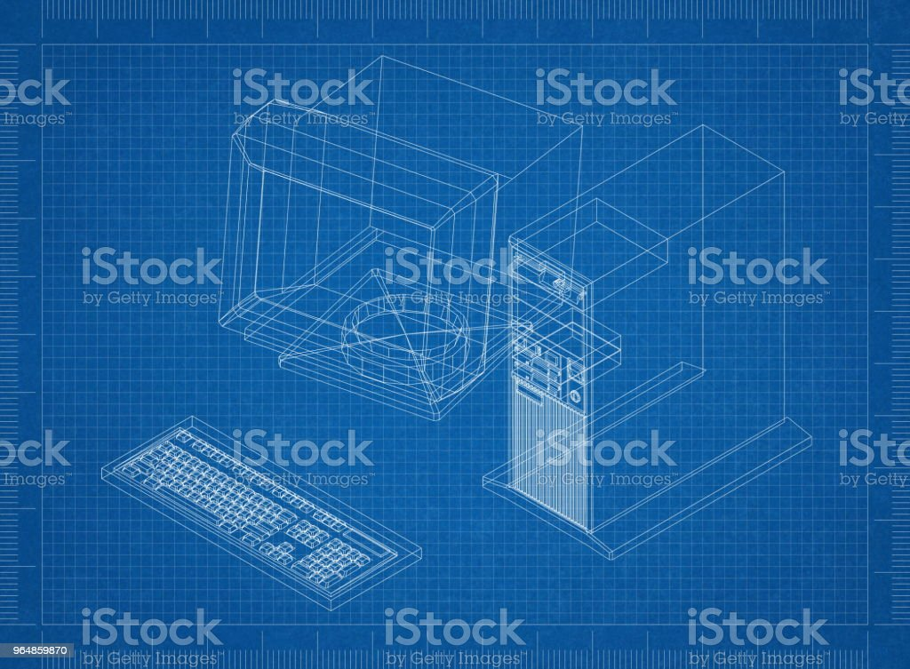 Retro Computer Architect blueprint royalty-free stock photo