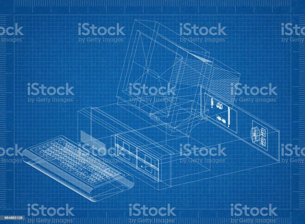 Retro Computer Architect blueprint royalty-free stock photo