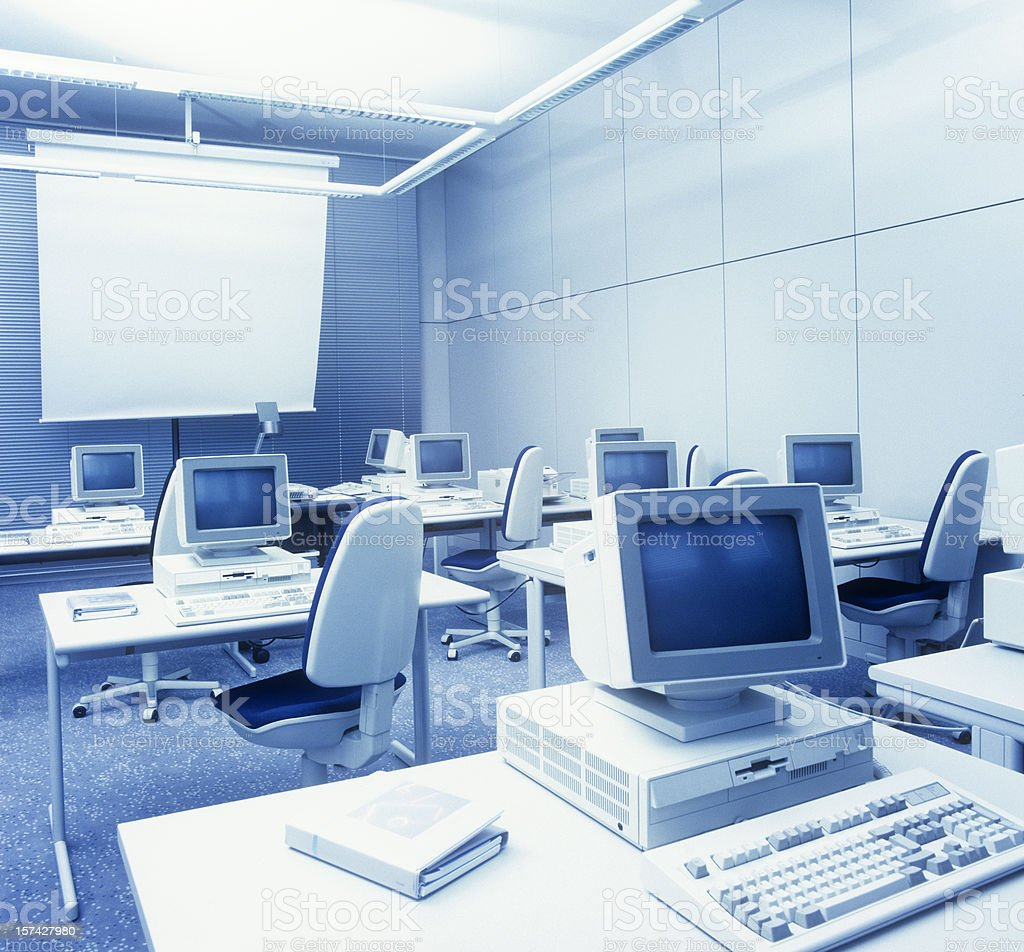 Retro computer learning room stock photo