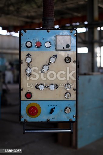 Retro control panel for machinery in an old factory