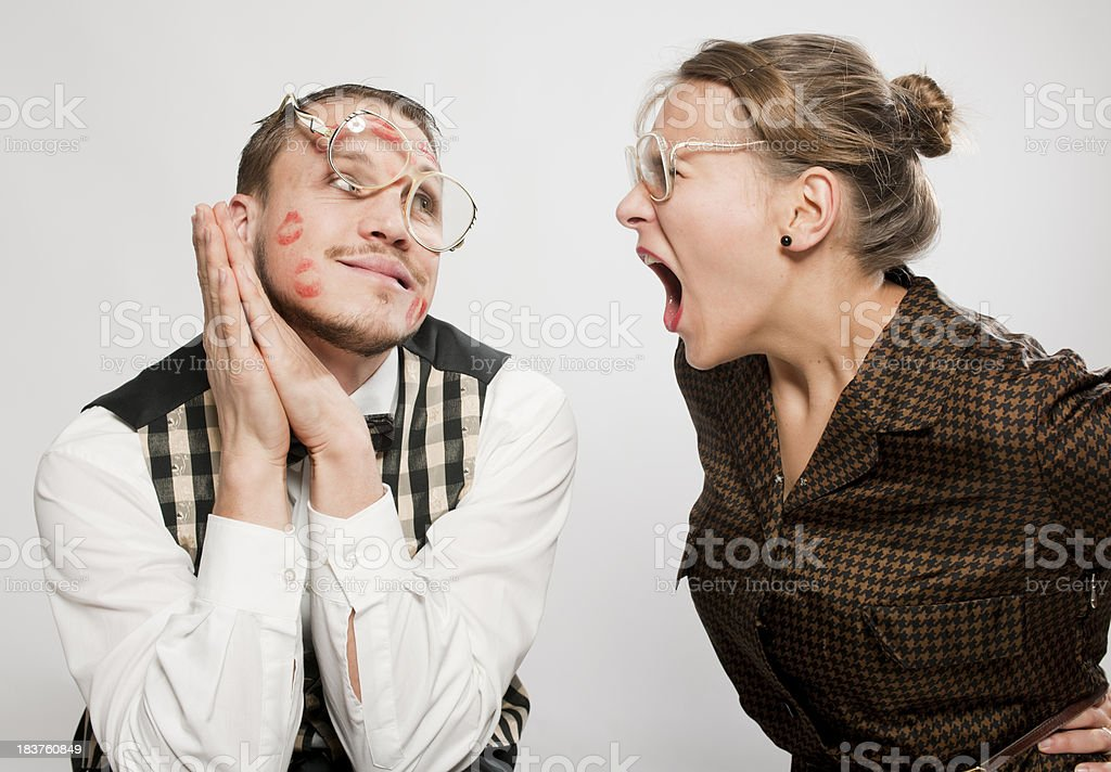 Retro couple having conflict royalty-free stock photo