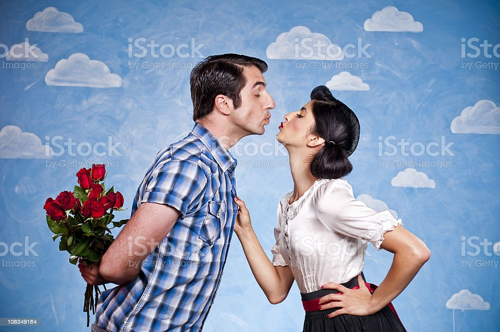 Retro Couple Kissing stock photo