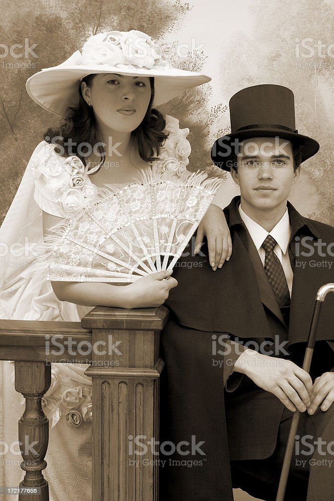 Retro couple portrait (sepia) royalty-free stock photo