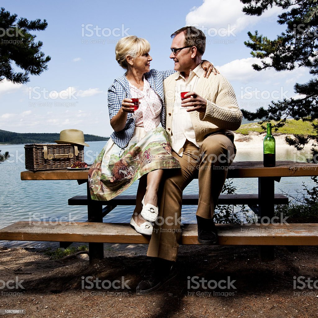 Retro couple sitting on picnic table drinking wine royalty-free stock photo