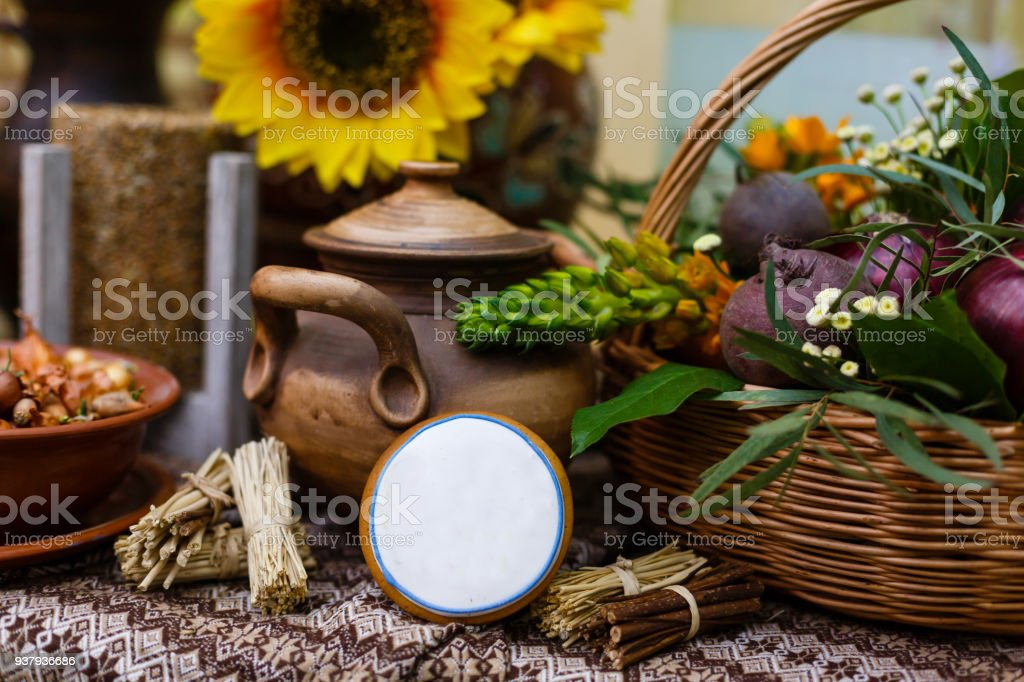 Retro cupboard with old pots and jars stock photo