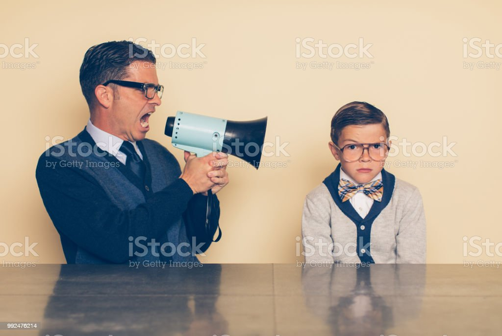 Retro Dad Helicopter Parenting stock photo