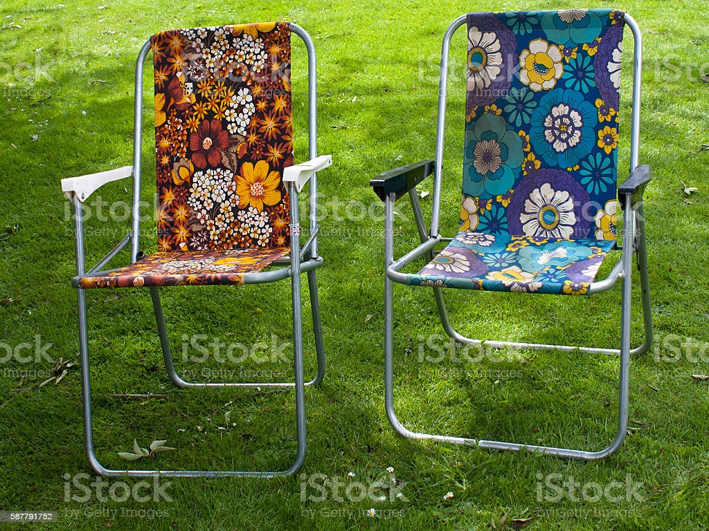 Retro Deck Chairs, Floral, Old, Two Royalty Free Stock Photo