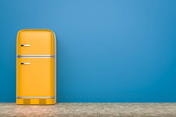 retro design fridge - geschlossene küchen stock-fotos und bilder