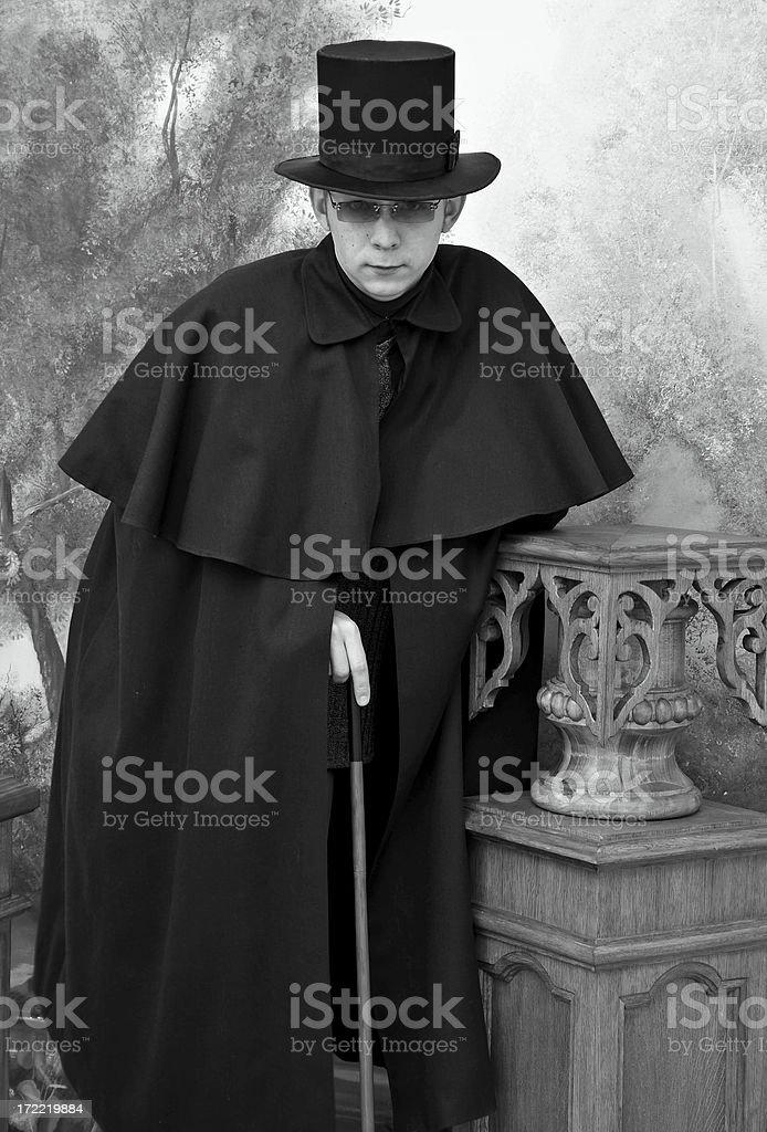 Retro detective (b/w) royalty-free stock photo