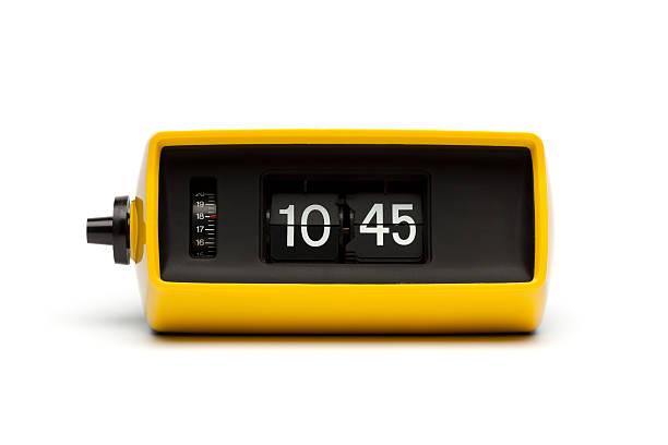 retro digital flip clock - alarm clock stock photos and pictures