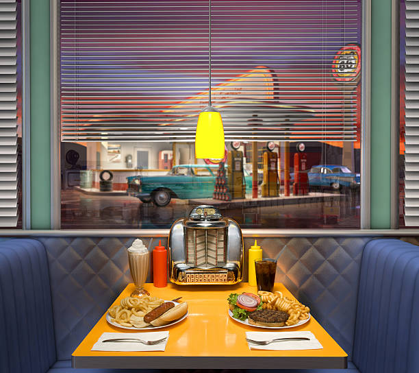 Retro Diner Interior stock photo