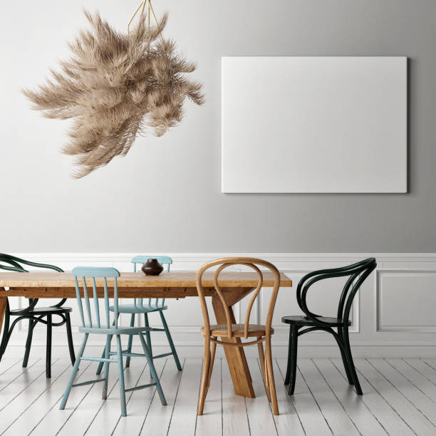 Retro Esszimmer mit leerem Poster – Foto