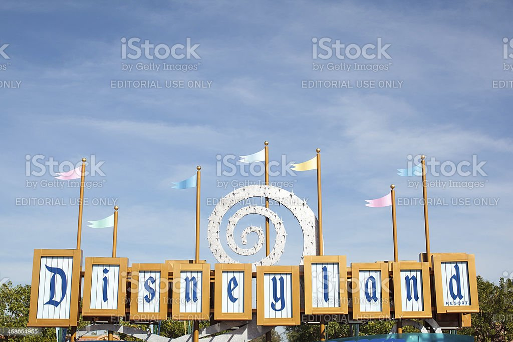 Retro Disneyland Sign and Flags stock photo