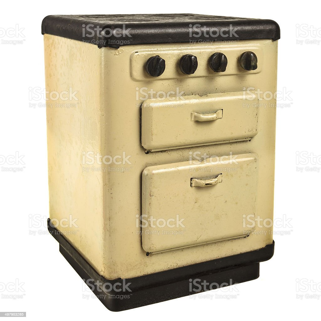 Retro doll house cooking stove isolated on white stock photo