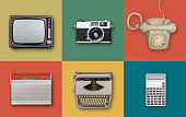 retro eighties electronics items on colored background