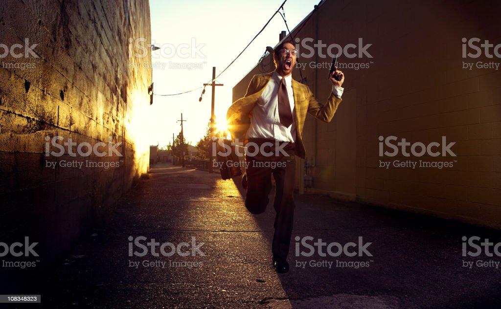 Retro Espionage Chase Man stock photo
