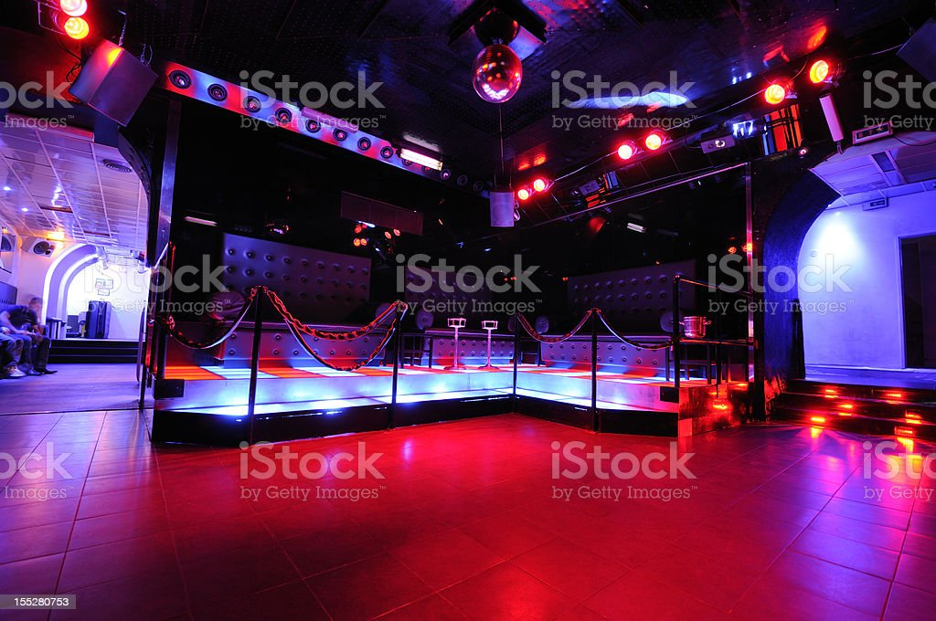 Retro European Disco Dancefloor Interior Nightlife stock photo