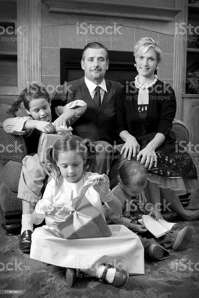 retro family christmas royalty-free stock photo