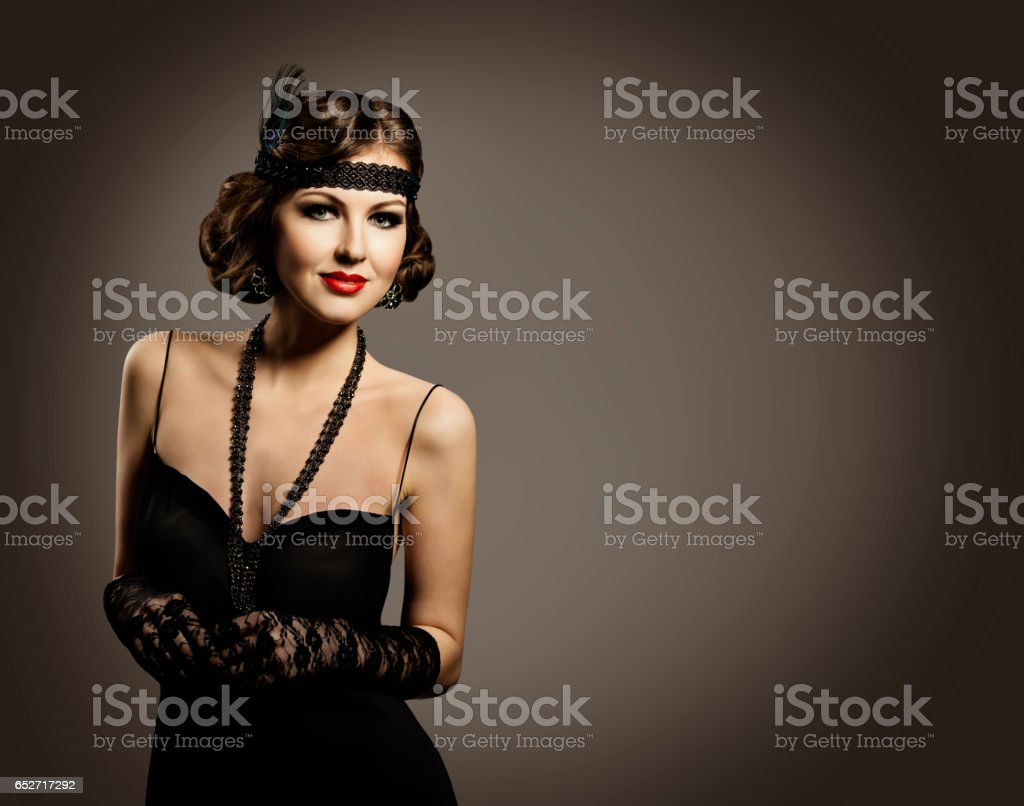Retro Fashion Beauty Woman Portrait, Old Fashioned Hairstyle Makeup Dress stock photo