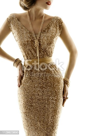 Retro Fashion Model Gold Dress, Woman Golden Evening Gown and Pearl Jewelry, Old Fashioned Style over White Background