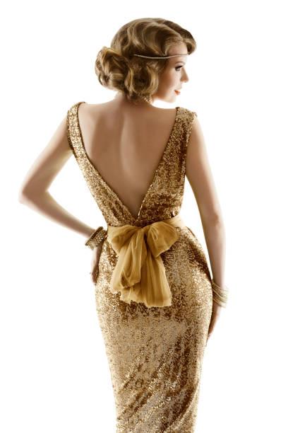 Retro Fashion Model Gold Dress, Woman Old Fashioned Beauty, White Isolated stock photo