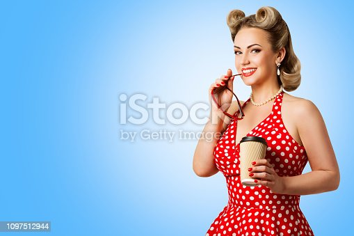 Retro Fashion Model Red Polka Dots Dress, Woman Pinup Beauty Style, Happy Girl Holding Paper Cup over blue background