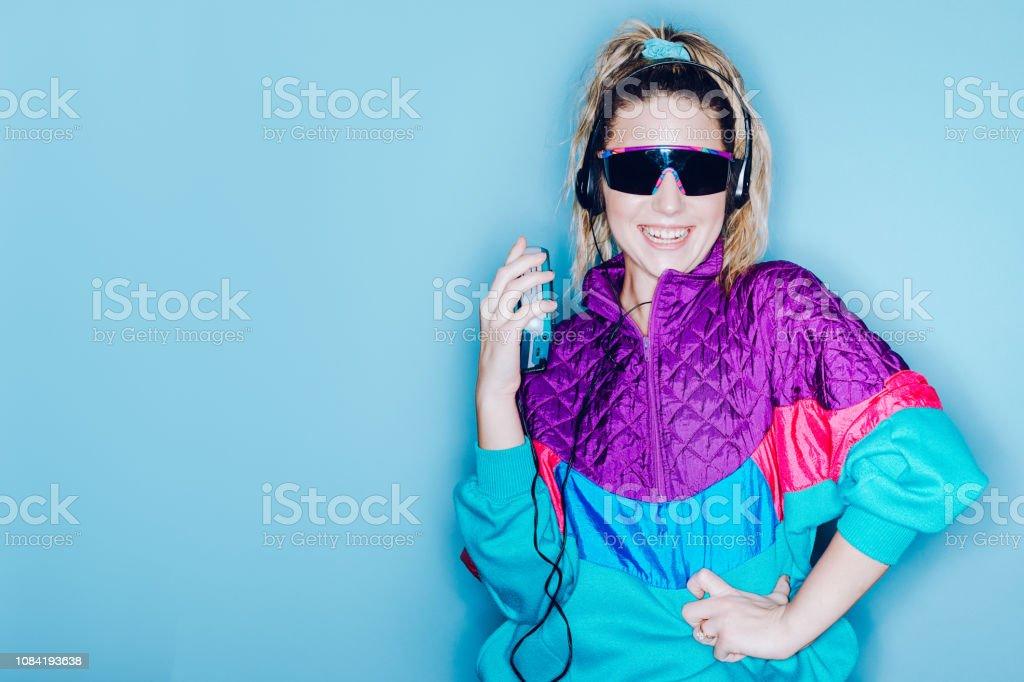 Retro Fashion Style Woman Eighties Era stock photo