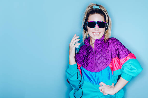 Retro Fashion Style Woman Eighties Era stock photo
