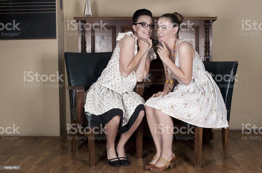 Retro Female Couple royalty-free stock photo