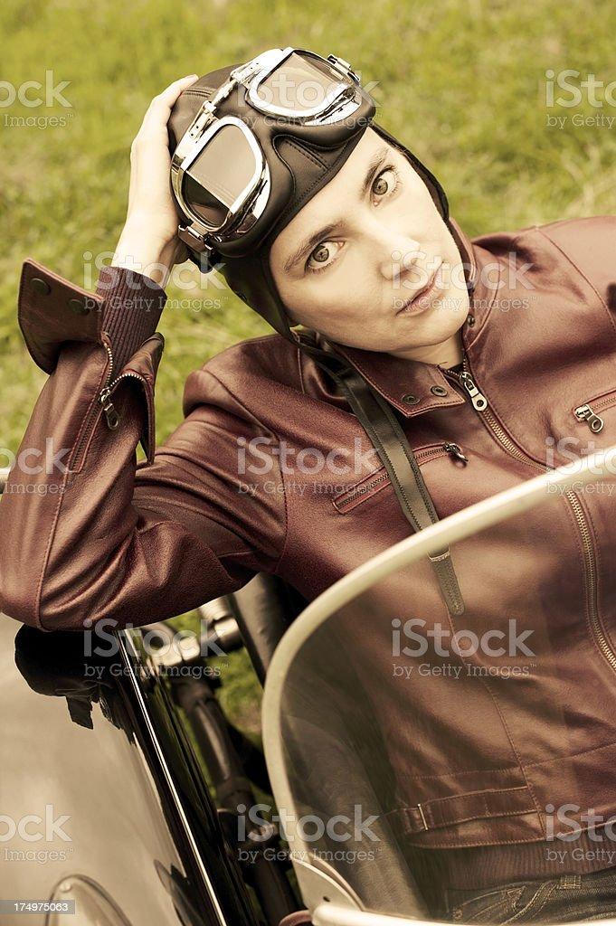 Retro Female Motorcyclist - 1935 Style stock photo