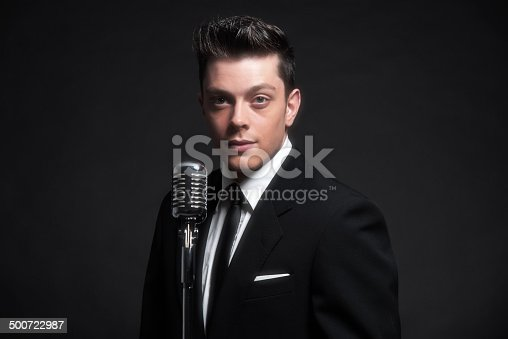 Retro fifties male singer with vintage microphone. Wearing black suit and tie. Studio shot.
